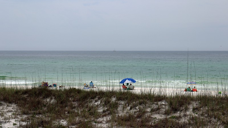 Looking out over the sand dunes at the Gulf of Mexico.