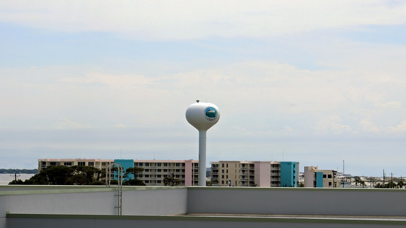 The nearby Okaloosa County water tower.