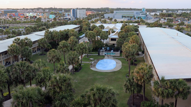 The Four Points Hotel features a water fountain area next to the hot tub.  Water jets are built into the ground surface and shoot water upward.