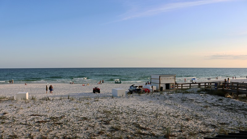 There were a few people still out on the beach at the Four Points Hotel.