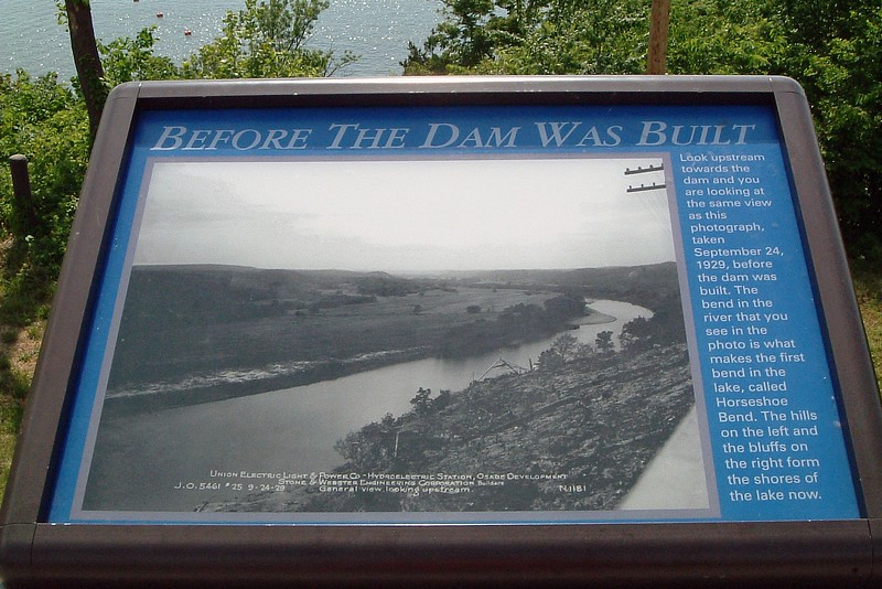 A couple of historic photos were on display at the overlook.  The photo seen above shows what the Osage River looked like at this spot before the dam was built.