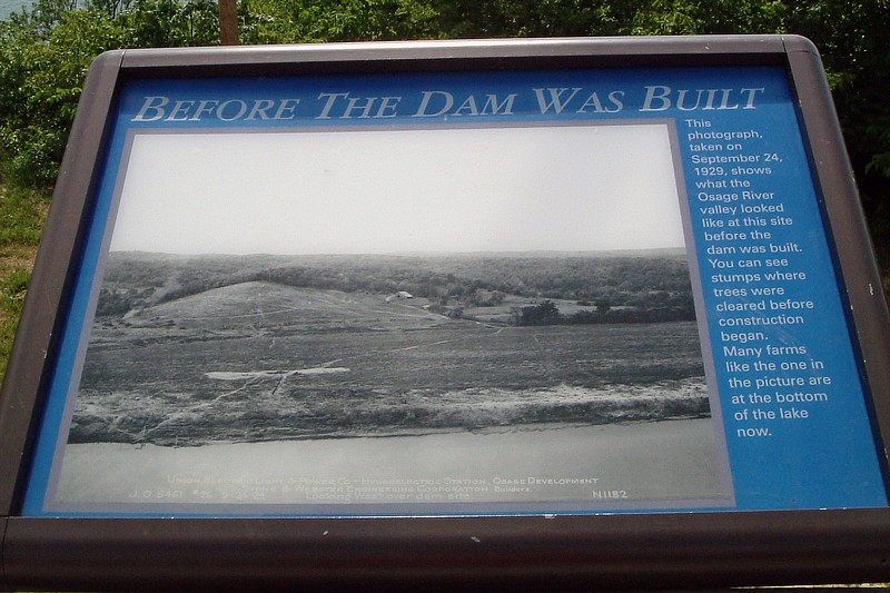 Another display featured a photo of the area where the Bagnell Dam now sits.