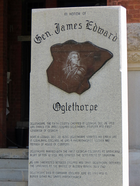 The monument for General James Oglethorpe is one of two monuments at the courthouse square.