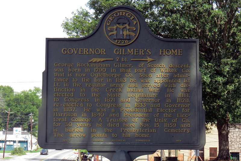 Historical marker for the home of George Gilmer, a 19th century Georgia Governor.