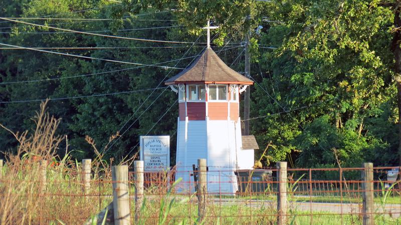 "The Poplar Springs Baptist Church ""Lighthouse"" is a familiar landmark along Colham Ferry Road."