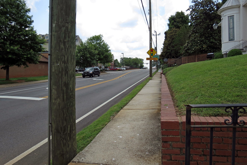 Soon I ended up at the intersection with North Main Street in Watkinsville.  The signal light in the distance in the photo is where I began today's ride.