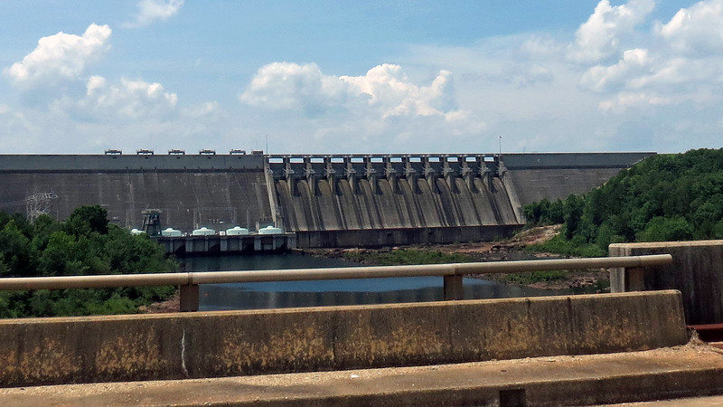 Zooming in on Hartwell Dam.