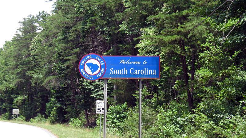 After coasting down the long hill on the Georgia side to the bridge, I now had to pedal up the long hill on the South Carolina side from the bridge.  The welcome sign gave me a good excuse to stop for a breather.