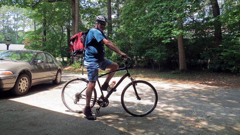 """I made the decision to get back on my bicycle in September 2017.  Being dreadfully out of shape and having been away from riding for so many years meant I had to start small.  I started with one two-mile lap around my neighborhood each day, no matter long how it took me, (and it took me quite a while on that first day !).  Once I started to regain some strength and endurance, my next goal was to go for longer rides, (not """"faster,"""" but seeing how my body reacted to spending more time on the bike).  By the time spring 2018 arrived, I had worked my way up to riding 5 - 10 miles per day.  <br /> <br /> With my strength and endurance continuing to improve, I decided I was ready to tackle my next goal - ride the bicycle to work.  This seemed completely doable.  Distance-wise, it's not that far, (about 5 miles).  I've reached the point where a 10-mile roundtrip ride is no problem for me.  The difficulty level isn't that bad either.  There are a couple of decent hills along the route, but nothing I can't handle.  Working 2nd shift meant I would be riding home from work at 11 PM.  Walmart was happy to sell me a set of lights to take care of this.  The only unknown remaining was that of energy level.  I know I can ride 5 miles to work and ride 5 miles back home.  Adding eight hours of work in between could get interesting.  There's only one way to find out.<br /> <br /> On this day, I decided I was ready to give it a try and see what happens.  I loaded all of my work stuff, (uniform, lunch, etc), into a backpack and hit the road !"""