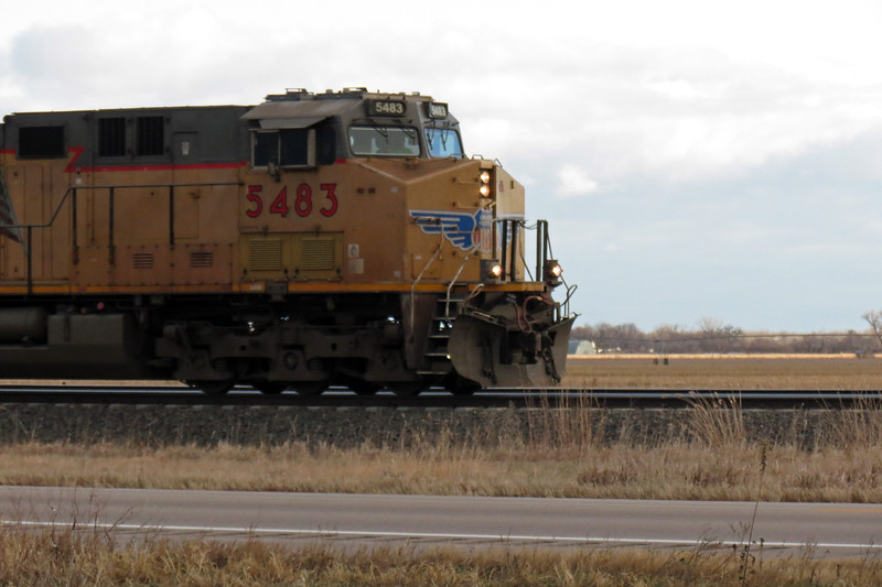Westbound Union Pacific train near Overton, Nebraska.