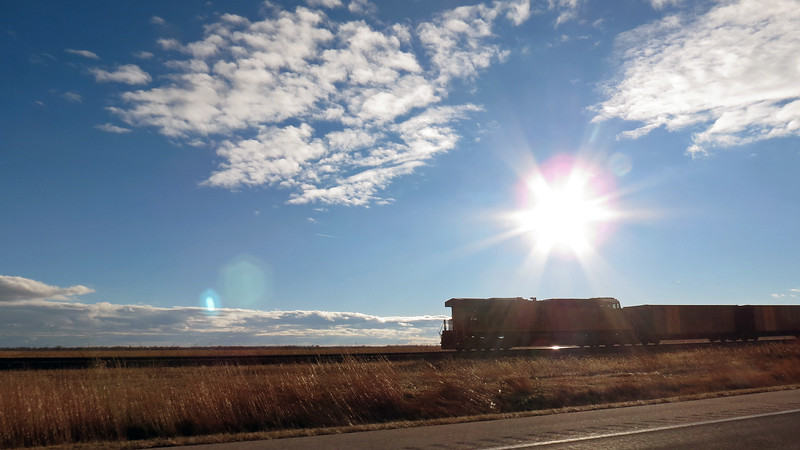 I passed by a westbound train outside of Overton, Nebraska.