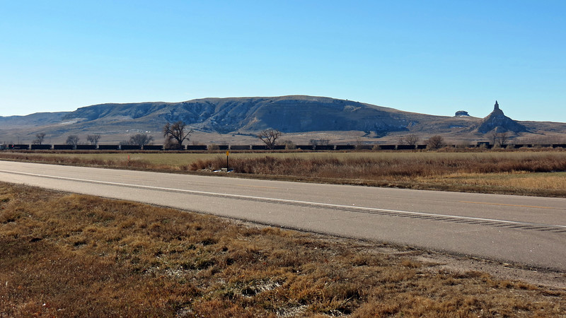 This area is known as the Wildcat Hills.  The pointed rock formation on the right side of the photo above is Chimney Rock (4,228 feet).