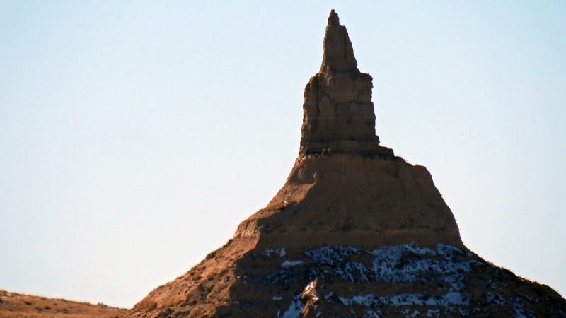 Zooming in on Chimney Rock (4,228 feet).