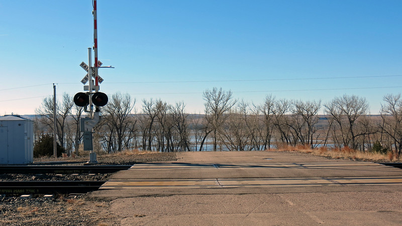 I crossed over the railroad tracks and headed toward the lake.