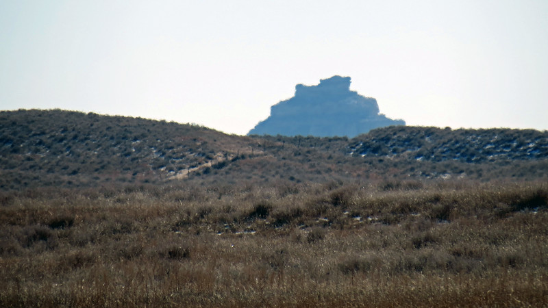 I later discovered that I was zooming in on Courthouse and Jail Rocks, two well-known nearby rock formations.  Both were major landmarks along the Oregon, California, and Mormon Pioneer Trails.