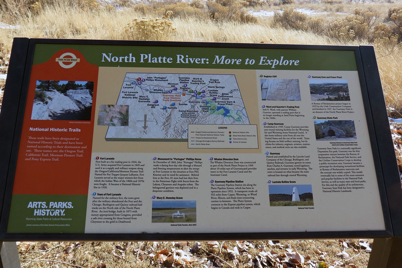 """Information pertaining to the North Platte River.  The map depicted is confusing at first because """"north"""" is indicated downward.  But this makes sense when you realize that the map is accurate from where I'm standing, (i.e. """"north"""" is behind me)."""