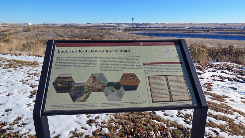 The marker in the photo above provides information on the Oregon Trail and Mexican Hill, both of which are nearby in this direction.