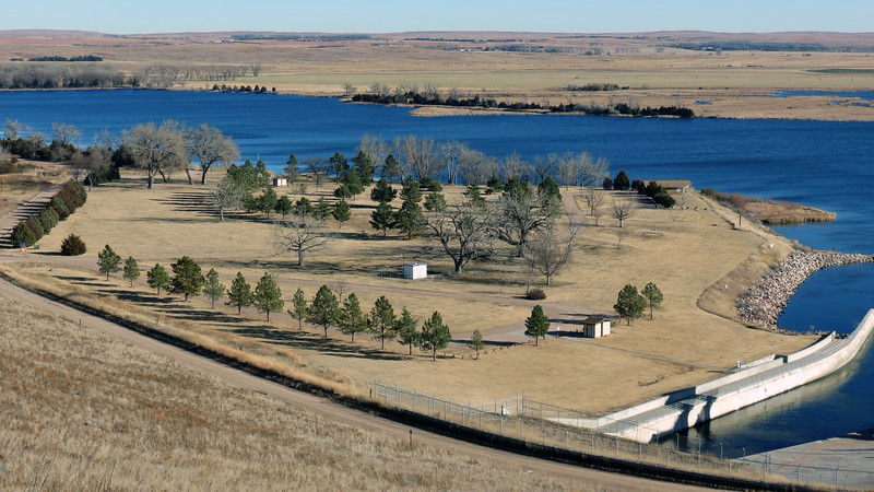 The Lake Ogallala State Recreation Area sits at the eastern base of the Kingsley Dam.