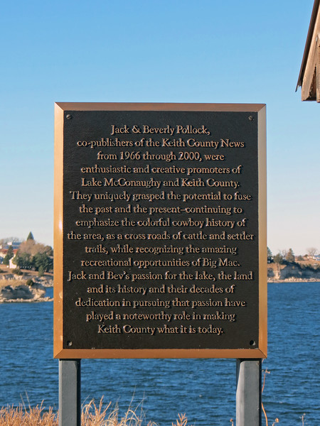"The marker seen above recognizes Jack & Beverly Pollock, supporters of ""Big Mac"" and Keith County Nebraska."