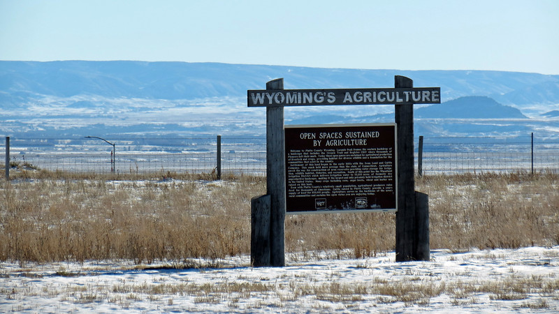 Marker at the Dwyer Junction Rest Area that describes Wyoming's agriculture.