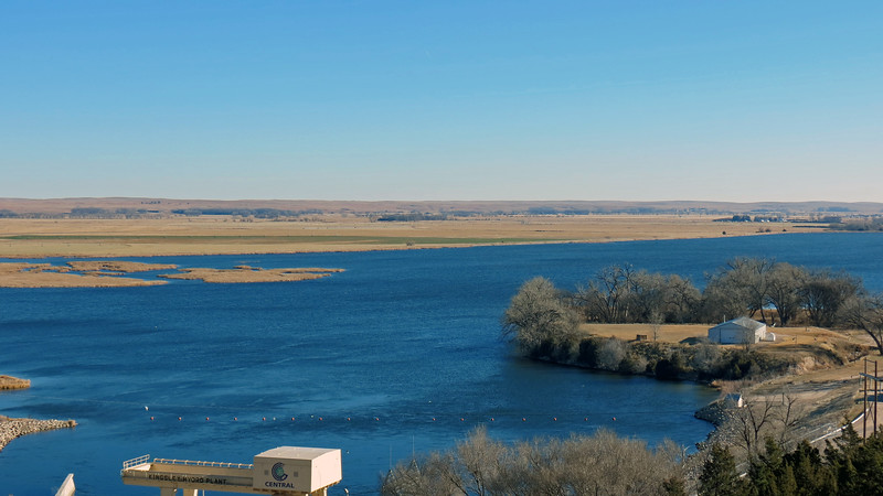 "Lake Ogallala, also known as ""Little Lake,"" sits on the eastern side of the Kingsley Dam."