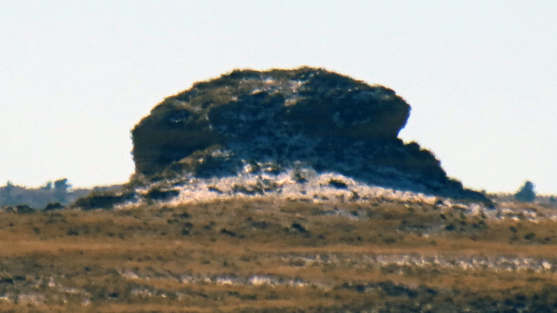 A blurry picture of the peak behind Chimney Rock.