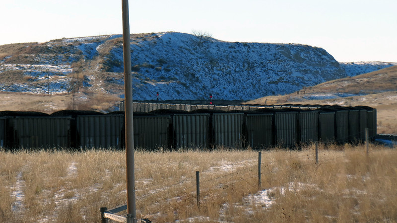 A long coal train outside of Fort Laramie, Wyoming.