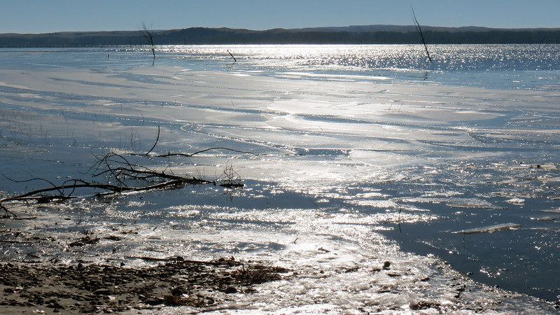 Partially frozen Lake McConaughy.