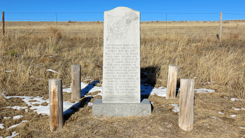 This marker mentions the Cheyenne - Black Hills Trail, another stagecoach trail that allowed access to the gold fields in the Black Hills of South Dakota.  This trail originated in Cheyenne, Wyoming and passed near this point on its way to Deadwood, South Dakota.