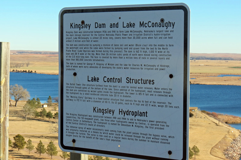 A marker at the parking are provides more information about the lake, the dam, and the hydro plant.