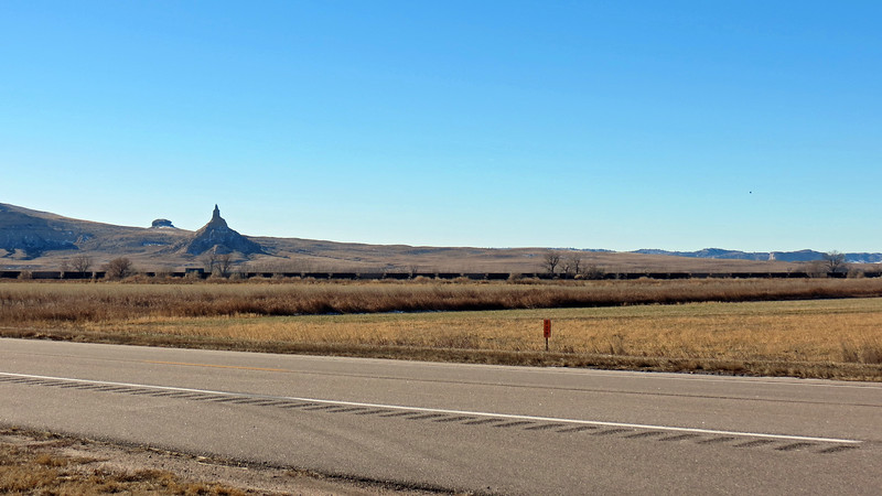 Chimney Rock rises about 300 feet above the North Platte River Valley.