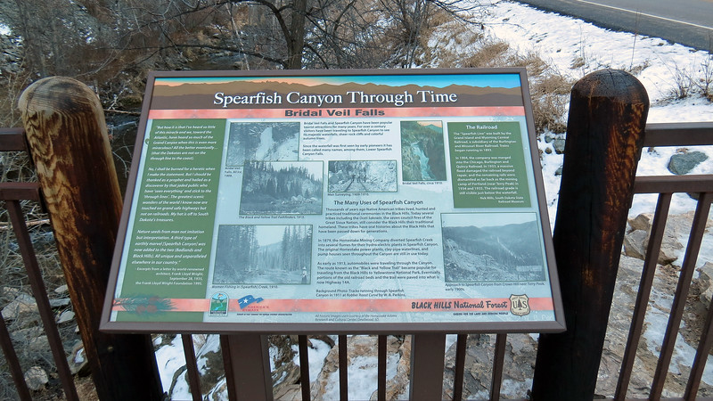 A couple of information displays are posted at the viewing platform.  The display in the photo above describes the history of the falls and Spearfish Canyon.