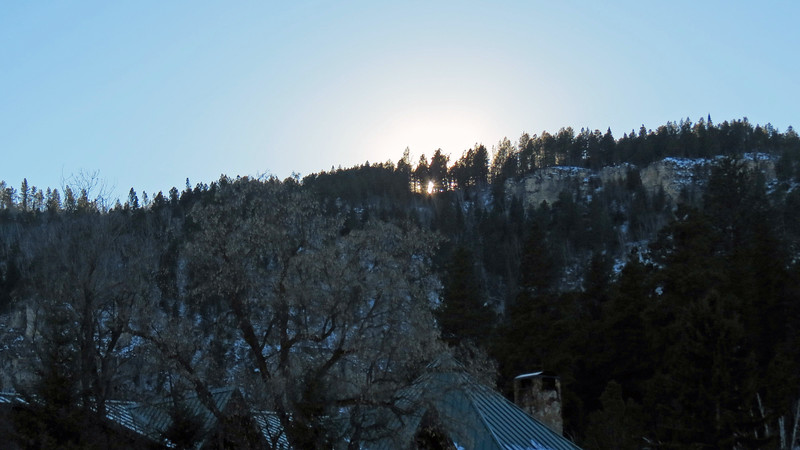 Sunset as seen from the Spearfish Falls parking area.