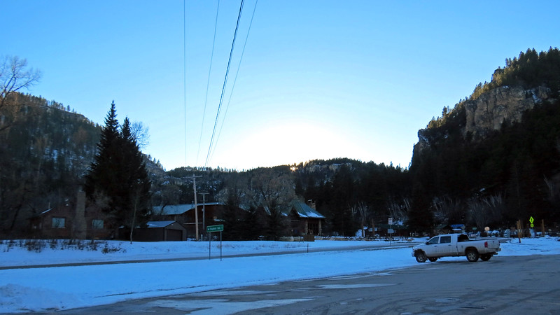 We arrived in time to check out the sun setting over the hills beyond the Spearfish Canyon Lodge across Route 14A from the parking area.