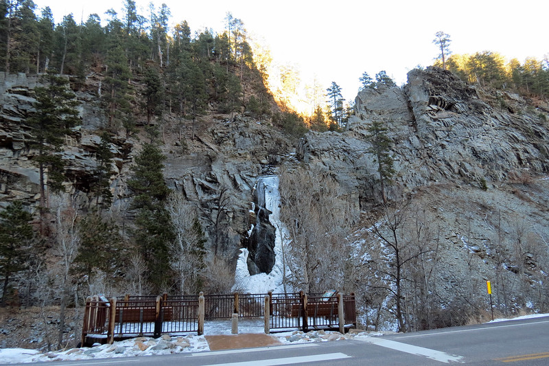 Of the three falls in Spearfish Canyon, (with the other two being Spearfish Falls and Roughlock Falls), Bridal Veil Falls is the easiest to get to as it is clearly visible from the roadway.  A small parking area is present along with a viewing platform.