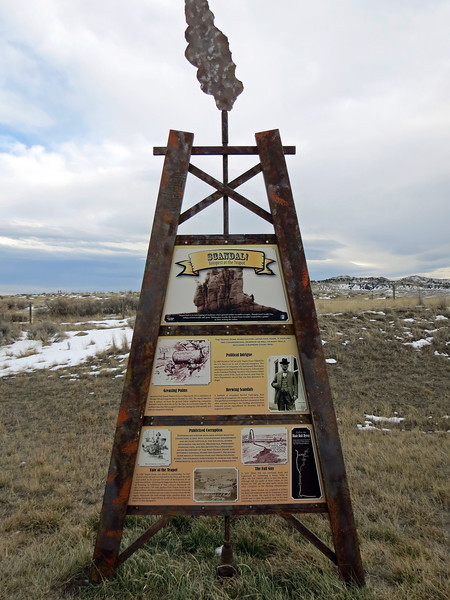 The second marker describes the scandal surrounding the nearby Teapot Dome Oilfield.  This scandal involved everything we've come to expect from modern politics:  corruption, briberies, congressional hearings, jail sentences, etc.