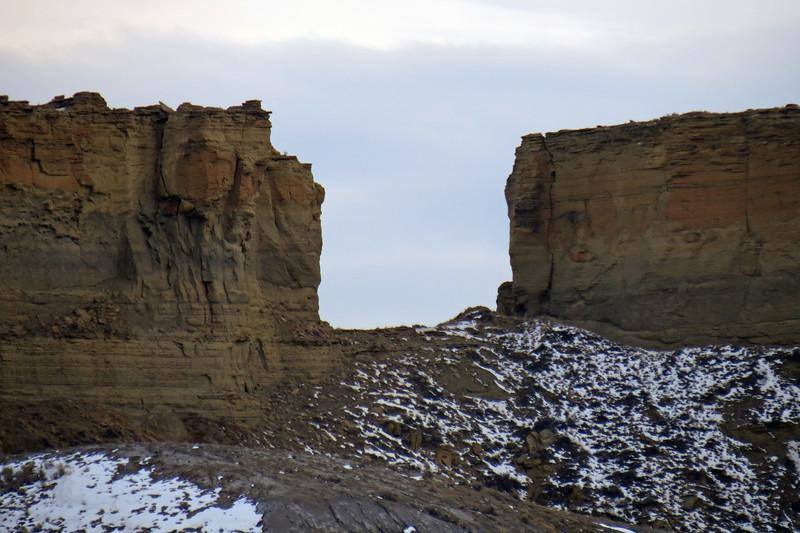 Gap in between two rimrock formations.