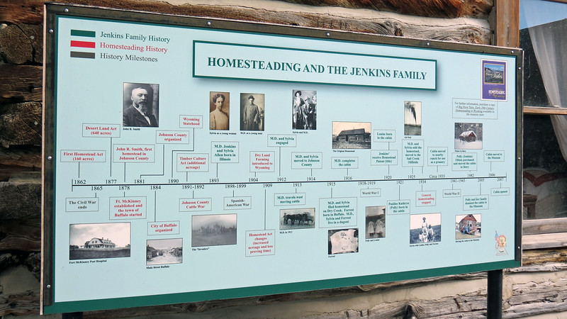 The timeline of events seen in the photo above shows how various events in the history of Johnson County coincide with the Jenkins family.  Illinois natives M. D. and Sylvia Jenkins arrived in Johnson County in 1914.  They established their homestead in the Dry Creek area near the town of Kaycee, Wyoming and built the cabin seen in the photos above and below in 1916.