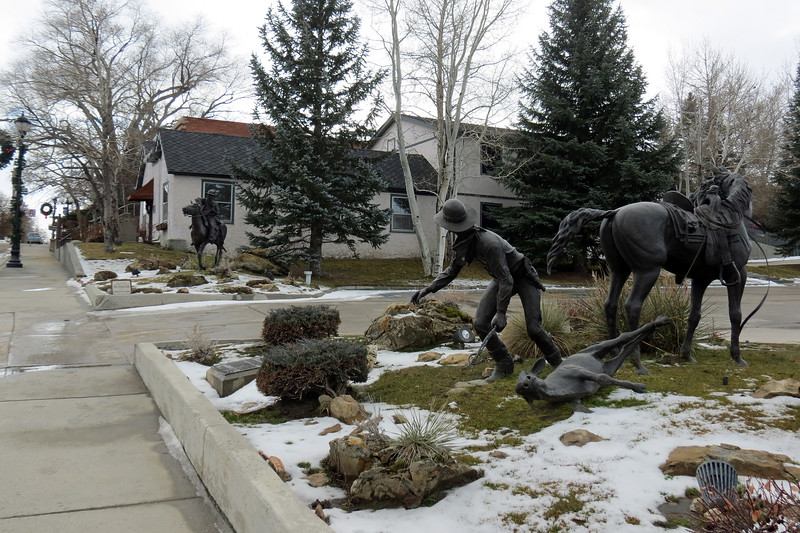 We parked in one of the lots in the downtown area and were greeted by a pair of sculptures that center around the Johnson County Cattle War of the 1890s.