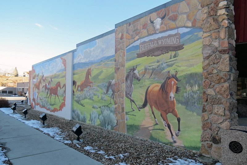 Wall mural on the side of the Hitching Post Art Gallery, Buffalo, Wyoming.