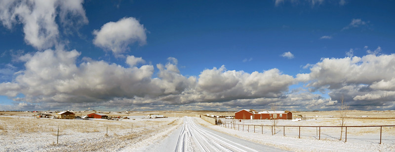 Three-picture panorama of the Hayfield Place neighborhood of Gillette, Wyoming looking north.