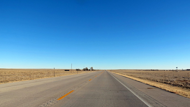 Once I reached Limon, Colorado, my journey south would continue on US Route 287.  Like Route 71, traffic on Route 287 was non-existent.  The photos above and below give you an idea what this road was like.