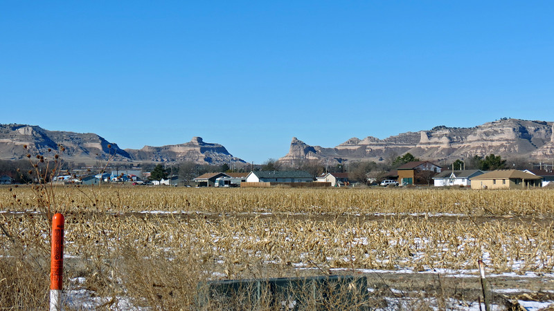 Panorama picture #2 of 3 that shows part of South Bluff, Sentinel Rock, Mitchell Pass, Eagle Rock, and Scotts Bluff.