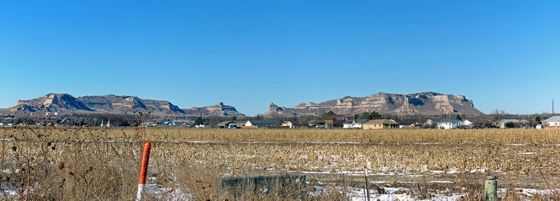 Three-picture panorama of the Scotts Bluff National Monument.
