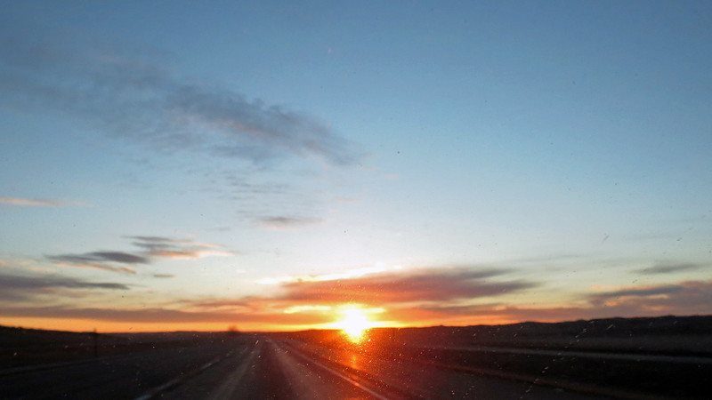 Sunrise over eastern Wyoming.