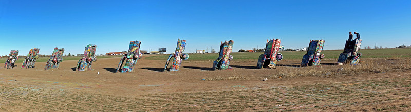 Two picture panorama of the Cadillac Ranch, Amarillo, Texas.