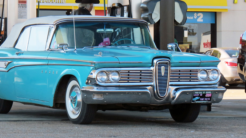 A beautiful 1959 Edsel Corsair convertible pulled in for some fuel.