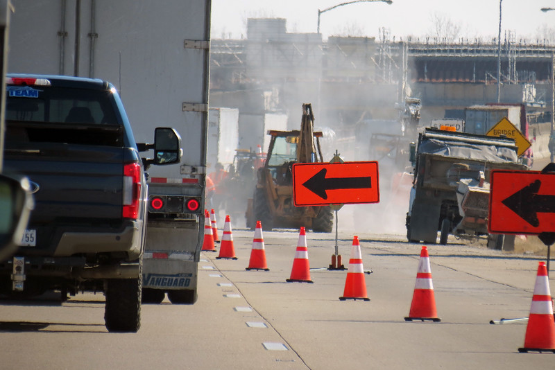 Road construction along Interstate 40, Memphis, Tennessee.