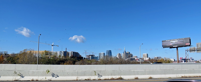 I had a great view of the Nashville skyline off to my left as I passed through the city.  So I perched the camera on top of my shoulder and held the button down hoping a couple of the 20 or so pics from that continuous burst would be usable.
