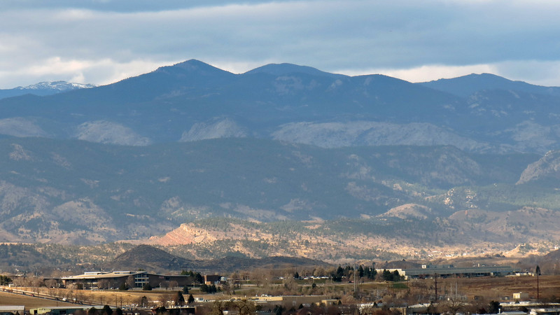 The snow capped peaks in the background on the left are possibly Stormy Peaks East (12,020 ft), and Stormy Peaks West (12,148 ft).  The pointed peak left of center is possibly Storm Mountain (9,918 ft), followed by Lookout Mountain (10,626 ft).